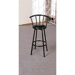 Black Swivel Bar Stool, Set of Two