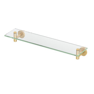 Latitude II Brushed Brass 20-Inch Glass Shelf