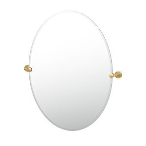 Latitude II Brushed Brass 32-Inch Frameless Oval Mirror
