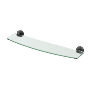 Glam Matte Black 20-Inch Glass Shelf