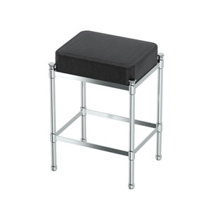 Black Leather Rectangle Vanity Stool Chrome