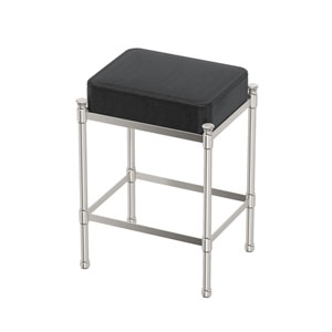 Black Leather Rectangle Vanity Stool Satin Nickel