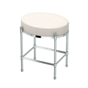 White Leather Oval Vanity Stool Chrome