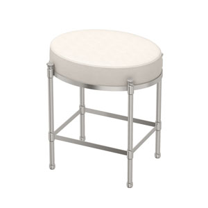 White Leather Oval Vanity Stool Satin Nickel