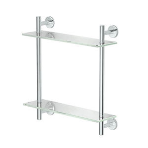 Latitude II, 17-inch L Two-Tier Glass Shelf, Chrome