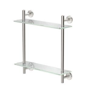 Latitude II, 17-inch L Two-Tier Glass Shelf, Satin Nickel