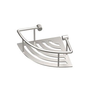 Elegant Brushed Nickel 8-Inch Corner Shelf