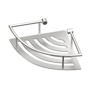 Elegant Brushed Nickel 11-Inch Corner Shelf