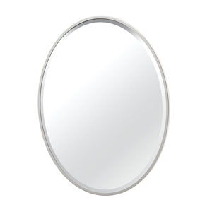 Flush Mount 33-Inch Framed Oval Mirror Satin Nickel