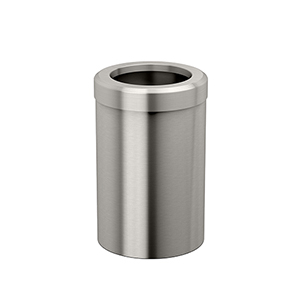 Round Modern Bathroom, Kitchen, Office, Waste and Trash Can Bin Satin Nickel