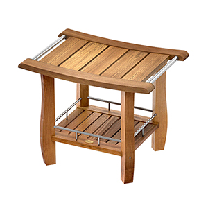 Teak Fully Assembled Rectangle Shower Bench with Storage Shelf