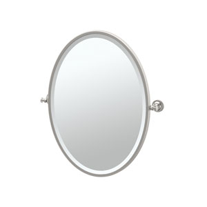 Tavern Satin Nickel Framed Oval Mirror