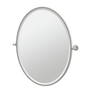 Tavern Satin Nickel Framed Large Oval Mirror