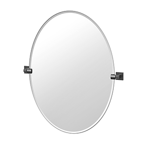 Elevate 32-Inch Frameless Oval Mirror Matte Black