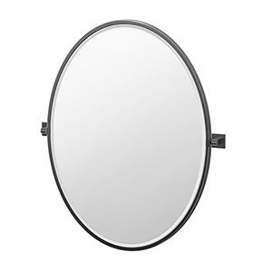Elevate 33-Inch Framed Oval Mirror Matte Black