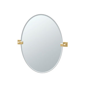 Elevate 26.5 Inch Frameless Oval Mirror in Brushed Brass