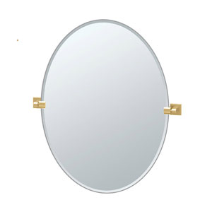 Elevate 32 Inch Frameless Oval Mirror in Brushed Brass