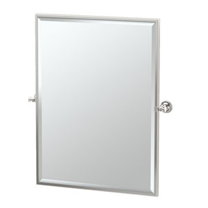 Tavern Polished Nickel Framed Large Rectangle Mirror