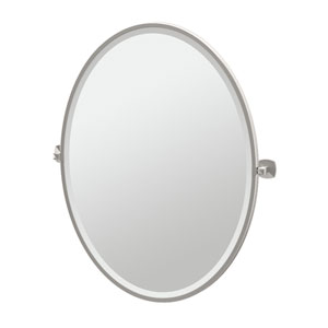 Jewel Satin Nickel Framed Large Oval Mirror