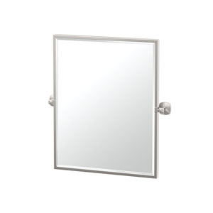 Jewel Framed Small Rectangle Mirror Satin Nickel