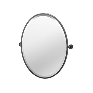 Latitude II 27.5-Inch Framed Oval Mirror Matte Black