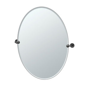 Latitude II Large Oval Mirror Matte Black