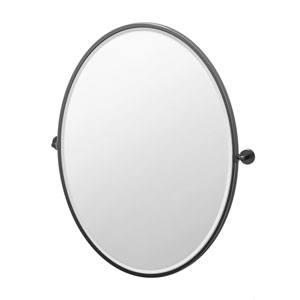 Latitude II 33-Inch Framed Oval Mirror Matte Black