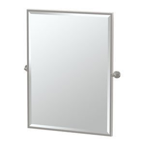 Latitude II Satin Nickel Framed Large Rectangle Mirror