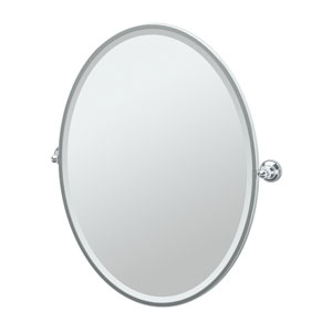 Tiara Chrome Framed Large Oval Mirror