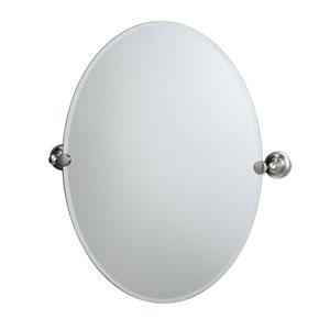 Tiara Satin Nickel Tilting Oval Mirror
