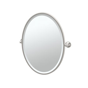 Tiara Satin Nickel Framed Oval Mirror