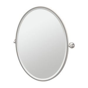 Tiara Satin Nickel Framed Large Oval Mirror