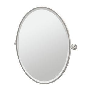 Tiara Satin Nickel Framed Large Oval Mirror