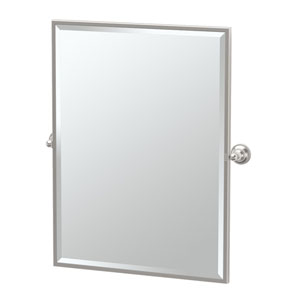 Tiara Satin Nickel Framed Large Rectangle Mirror