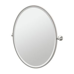 Charlotte Satin Nickel Framed Large Oval Mirror