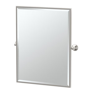 Charlotte Satin Nickel Framed Large Rectangle Mirror