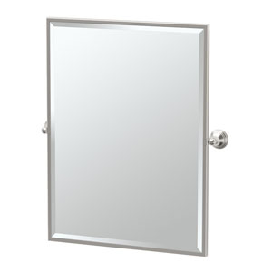 Charlotte Framed Small Rectangle Mirror Satin Nickel