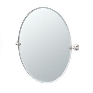 Charlotte Satin Nickel Large Tilting Oval Mirror