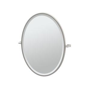 Bleu Satin Nickel Framed Oval Mirror