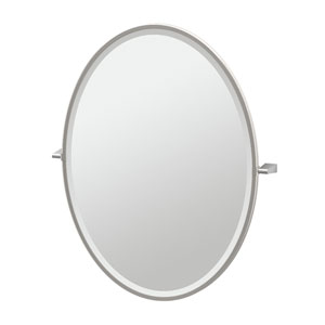 Bleu Satin Nickel Framed Large Oval Mirror
