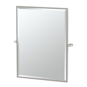 Bleu Satin Nickel Framed Large Rectangle Mirror