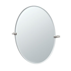 Bleu Satin Nickel Large Oval Mirror