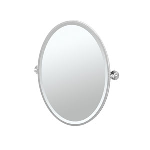 Cafe Chrome Framed Oval Mirror