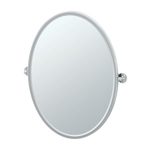 Cafe Chrome Framed Large Oval Mirror