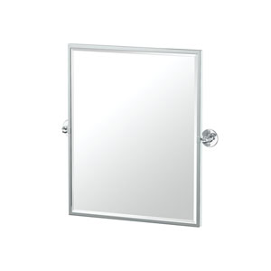 Café Framed Small Rectangle Mirror Chrome