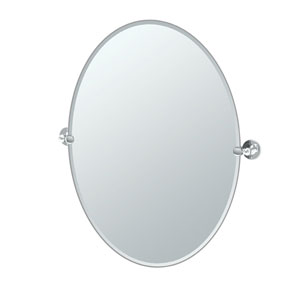 Cafe Chrome Large Oval Mirror