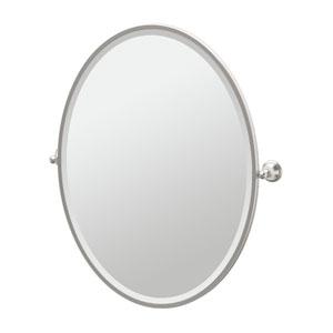 Laurel Ave Satin Nickel Framed Large Oval Mirror