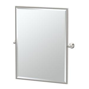 Laurel Ave Satin Nickel Framed Large Rectangle Mirror