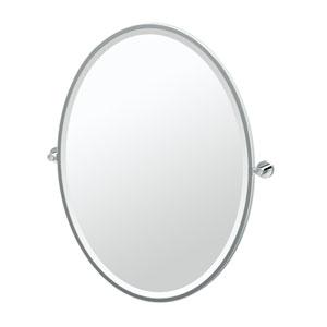 Glam Framed Large Oval Mirror Chrome