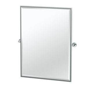 Glam Framed Large Rectangle Mirror Chrome